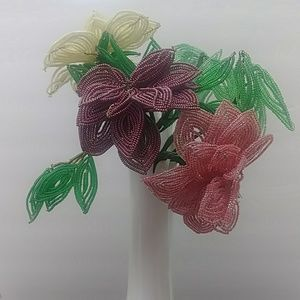 Vintage French hand beaded flower stems